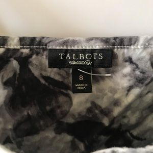 Talbots Dresses - Talbots Floral Gray and White Cotton Floral Dress